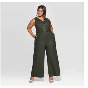 Who What Wear Linen Jumpsuit Olive Green XXL